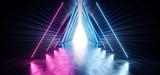 Fototapeta Scene - Neon Glow Purple Blue Futuristic Sci Fi Ship Space Tunnel Corridor Entrance Hallway Underground Triangle Frame White Reflection Concrete Grunge Floor Stripes 3D Rendering