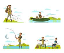 Fisherman On Fishing Vector Il...