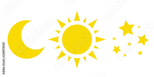 Fotografie, Obraz sun, moon and stars, a collection of vector icons