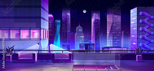 Modern city megapolis at night. Illuminated cityscape view from skyscraper roof with recreation zone with couches and lamps. Glowing neon buildings architecture background. Cartoon vector illustration