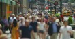 Crowd of people walking street slow motion in New York City
