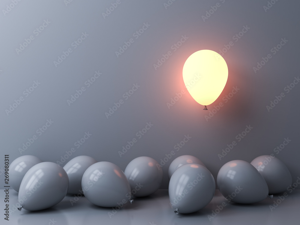 Fototapety, obrazy: Stand out from the crowd and different concepts One light balloon glowing and floating above other white balloons on white wall background with window reflections and shadows 3D rendering