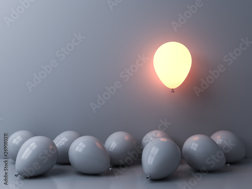 Obraz Stand out from the crowd and different concepts One light balloon glowing and floating above other white balloons on white wall background with window reflections and shadows 3D rendering - fototapety do salonu