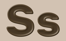 Set Of Initial And Lowercase Letter S With Brown Chocolate Texture, Creative 3D Font Design For Poster, Banner, Promotion