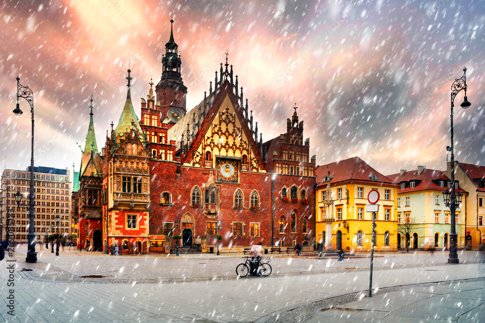 Wrocław o zmierzchu po zachodzie słońca