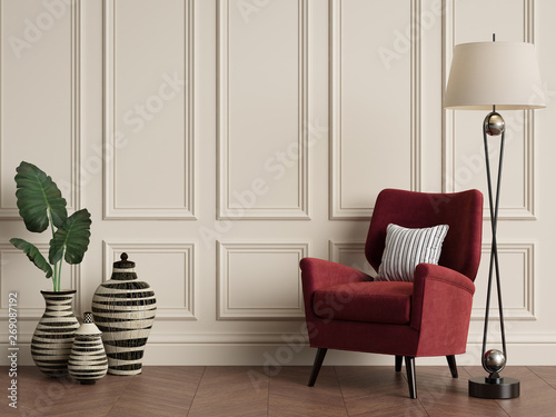 Fotografía Classic interior with armchair and floor lamp. Warm colors