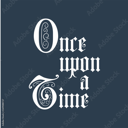 Once upon a time lettering phrase Canvas Print