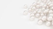 Pile Of Pearls. Background Of The Plurality Of Beautiful Pearls. Gems, Women's Jewelry, Nacre Beads. Background For Your Banner, Poster, Logo. Beautiful Shiny Sea Pearl. 3d Illustration