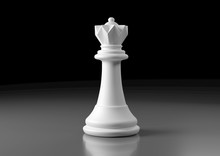 White Queen Chess, Standing Against Black Background. Chess Game Figurine. Leader Success Business Concept. Chess Pieces. Board Games. Strategy Games. 3d Illustration, 3d Rendering