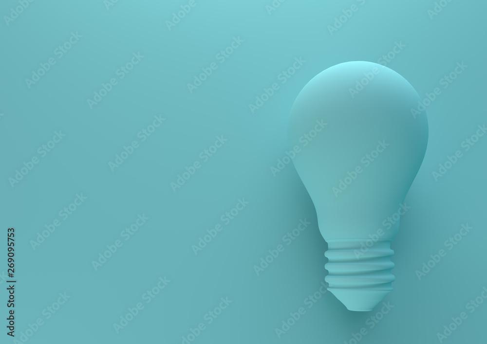 Fototapety, obrazy: Blue light bulb on bright blue background in pastel colors. Minimalism concept. 3d render illustration