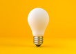 White light bulb on bright yellow background in pastel colors. Minimalist concept, bright idea concept, isolated lamp. 3d render illustration