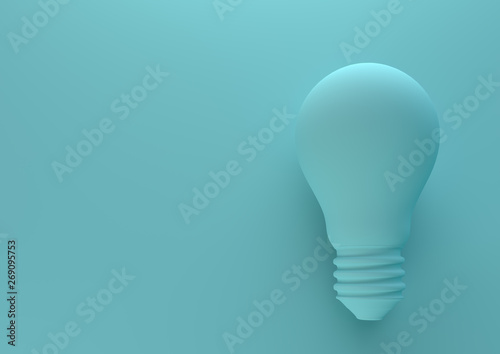 Obraz Blue light bulb on bright blue background in pastel colors. Minimalism concept. 3d render illustration - fototapety do salonu