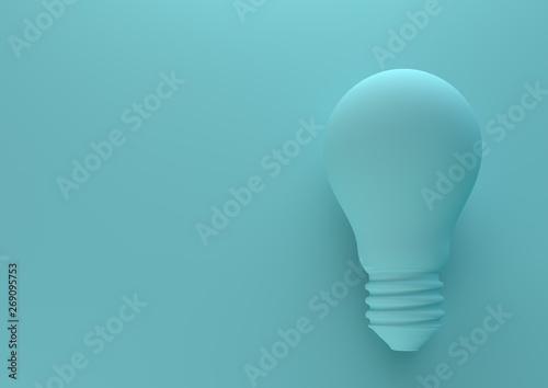 Fotografie, Obraz  Blue light bulb on bright blue background in pastel colors