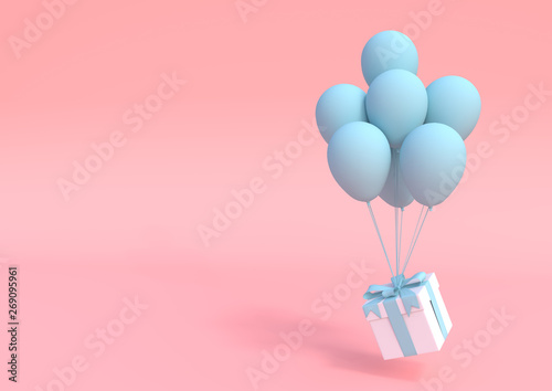 Fényképezés  White gift box with blue ribbon and balloon on pastel pink background