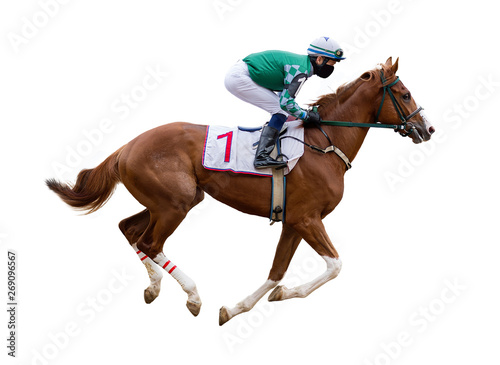 Fotografie, Obraz horse racing jockey isolated on white background