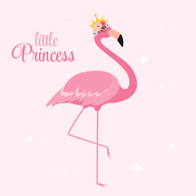 Beautiful Little Princess Pink Flamingo In Golden Crown. Vector Illustration