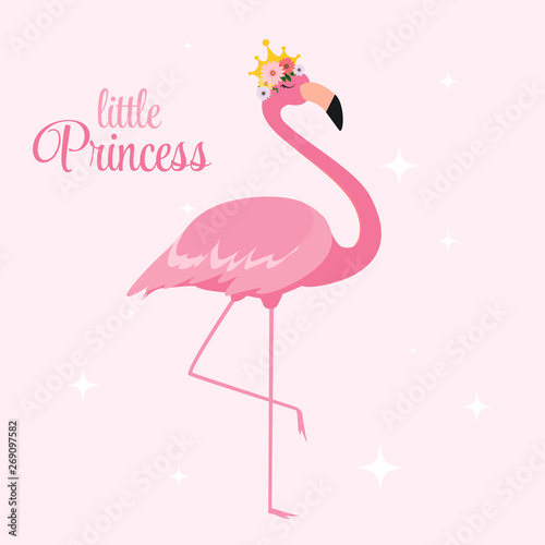 Photo Beautiful Little Princess Pink Flamingo in Golden Crown