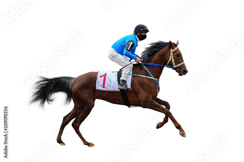 Canvas Print horse racing jockey isolated on white background