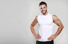 Muscular Model Man In White T-...
