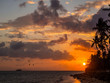 Silhouette of people flying kites and smoking ferry against the setting sun and clouds. Koh Phangan. Thailand