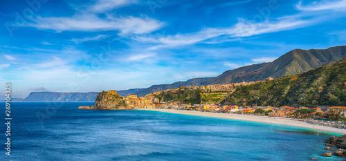 Foto auf Leinwand Blau Jeans Beautiful seaside town village Scilla with old medieval castle on rock Castello Ruffo
