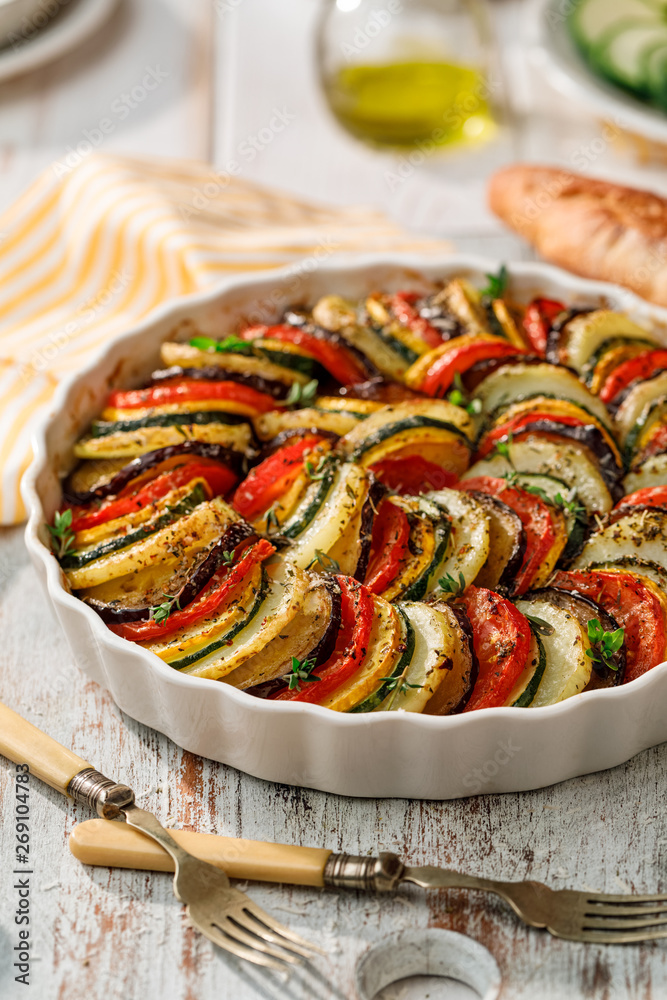 Fototapety, obrazy: Vegetable tian, Provencal vegetable casserole, delicious and nutritious vegetarian meal