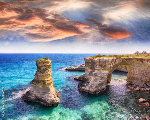 Picturesque seascape with cliffs, rocky arch at Torre Sant Andrea Wall mural