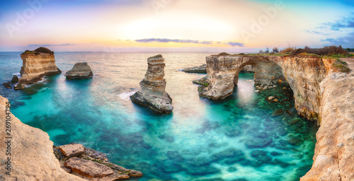 Keuken foto achterwand Strand Dramatic seascape with cliffs, rocky arch at Torre Sant Andrea
