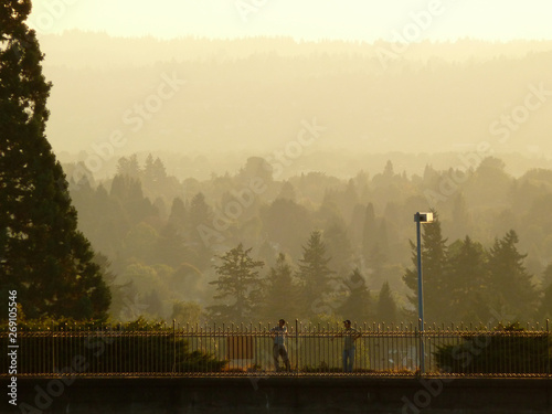 Two people talking during sunset at Mount Tabor Park in Portland Oregon Tapéta, Fotótapéta