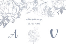 Wedding Card Template. Abstract Floral Background With Flowers