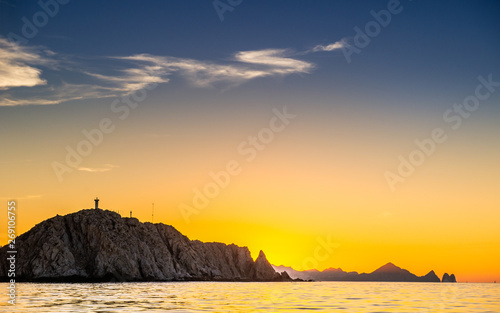 Foto auf Gartenposter Melone Beautiful Sunset of Seascape with Mountains silhouets. Sea off the Coast of Cabo San Lucas. Gulf of California (also known as the Sea of Cortez, Sea of Cortes. Mexico. Sunset over Cabo San Lucas.
