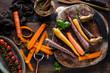 Bio-Regenbogen-Karotten vom heimischen Bauernhof