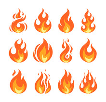 Simple Vector Flame Icons In F...
