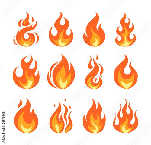Fotografia, Obraz Simple vector flame icons in flat style