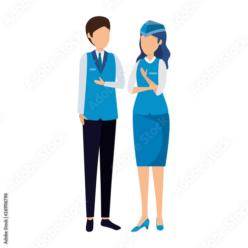 flight attendants couple avatars characters Canvas Print