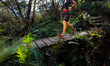 canvas print picture - male running over a wooden bridge as part of an Ultra trail running event