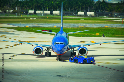 Photo  Commercial Jet - Waiting on a Runway. Boeing 737.