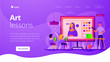 Kids learning to paint on tablets in classroom and teacher with laptop, tiny people. Art lessons, digital art studio, art education for kids concept. Website homepage header landing web page template.