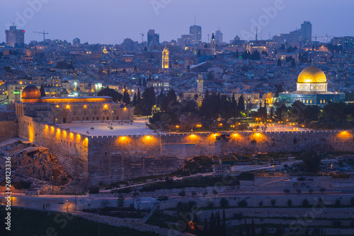 Poster de jardin Paris skyline of old city of jerusalem, israel