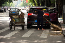 Chinese Woman Road Sweeper Wor...
