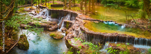 Photo sur Toile Cascades Beautiful waterfall Huai Mae Khamin, Thailand