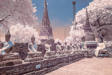 Wat Yai Chai Mongkhon. Alignment Of Buddha Statue. Image With IR Camera.