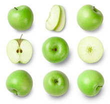 Set Of Green Apples Isolated On White Background. Top View.