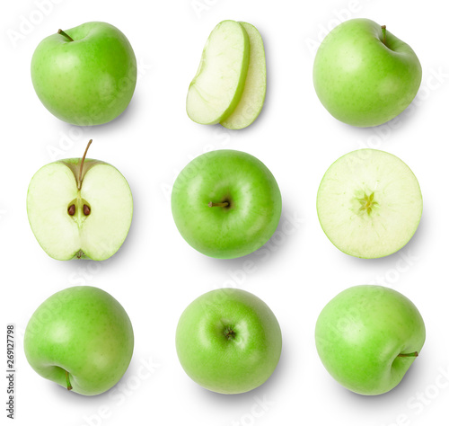 Fotografia, Obraz  set of green apples isolated on white background. Top view.