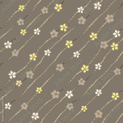 Abstract white, gray and yellow flowers like brooch and jewelry diamond chains on ashen background Wallpaper Mural