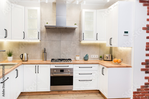 Stylish white scandinavian kitchen interior with decor accessories Canvas Print