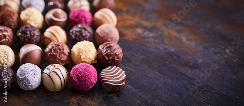 Panorama banner with luxury chocolate pralines