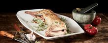 Roasted Fresh Wild Rabbit Venison With Ingredients