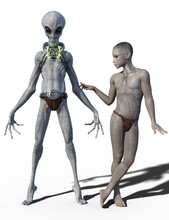 3d Render Of Two Grey Aliens Isolated On White