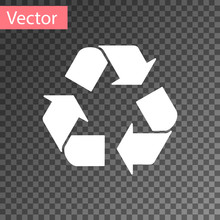 White Recycle Symbol Icon Isol...